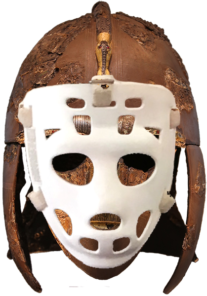 Sutton Hoo helmet and hockey face mask
